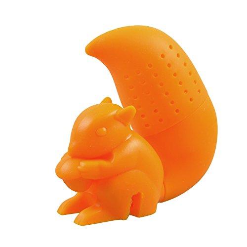 Filtro per tè sfuso a forma di scoiattolo - arancione - in silicone (privo di bpa)