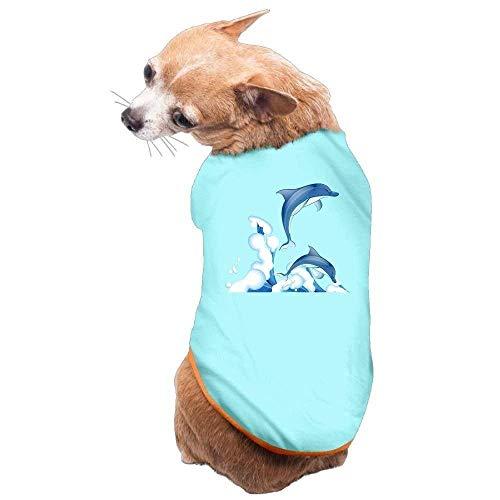 Delfin Hunde Kostüm - GSEGSEG Hundekleidung, Mantel, Kostüm, Pullover, Weste, für Hunde und Katzen, weich, dünn, Delfin, in 3 Größen und 4 Farben erhältlich