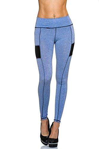 Fashion - Legging de sport - Uni - Femme Bleu - Bleu