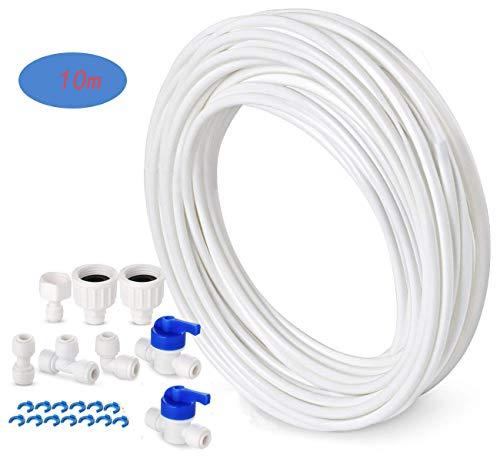 TSPKEY 10 m Wasserzufuhr Schlauch Kühlschrank Connector Kit für europäischen Stil Doppel-Kühlschrank Kühlschrank (1/4 Zoll Rohr) -