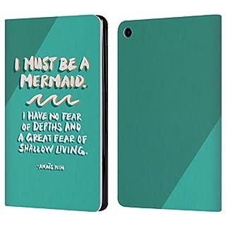 Head Case Designs Offizielle Cat Coquillette I Must Be A Mermaid Zitate Typografie 7 Leder Brieftaschen Huelle kompatibel mit Amazon Fire HD 8 (2017) / (2018)