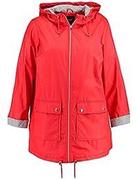 Ex New Look Curves - Women's Water Proof Rain Mac Jacket, Red, Plus Size