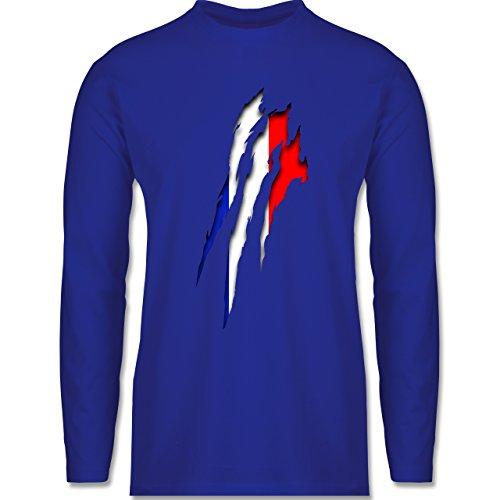 Länder - Frankreich Krallenspuren - Longsleeve / langärmeliges T-Shirt für Herren Royalblau