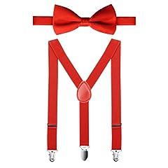 Idea Regalo - HBF Bretelle Papillon Bambino Accessori per Bambini Bretelle Elastiche e Regolabili con Farfallino Bambino Unisex Forma a Y