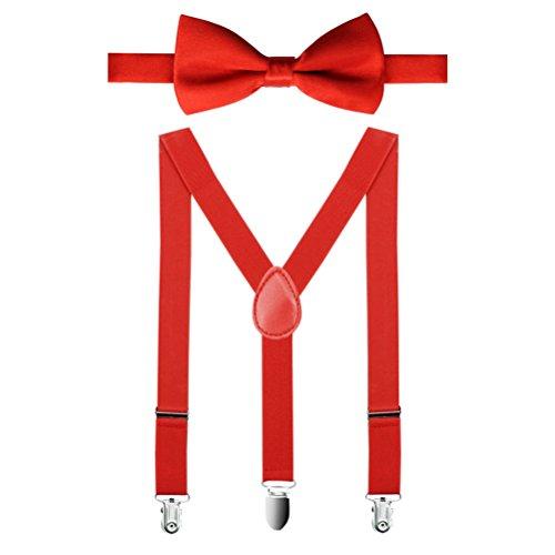 Hosenträger Für Mit Kostüm Kinder - HABI unisex mehrfarbig elastisch Hosenträger Y-Form Länge für Kinder und Jungen mit den starken Clips Playshoes mit eine Fliege in verschiedenen Designs, 2, One size