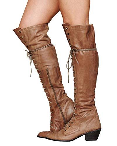 Minetom Damen Winterstiefel Overknees Stiefel Blockabsatz Stiefeletten Langschaft Mode PU Leder Schuhe Retro Niet Seitenreißverschluss Schnüren Boots Braun 41 EU