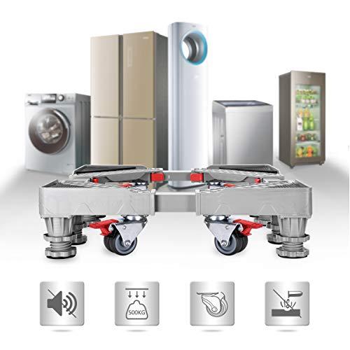 Base Lavatrice mobile multifunzionale regolabile con 4 ruote in gomma e 4 robusti piedini mobili. Ideale per lavatrice, asciugatrice e frigorifero, mobili così grandi