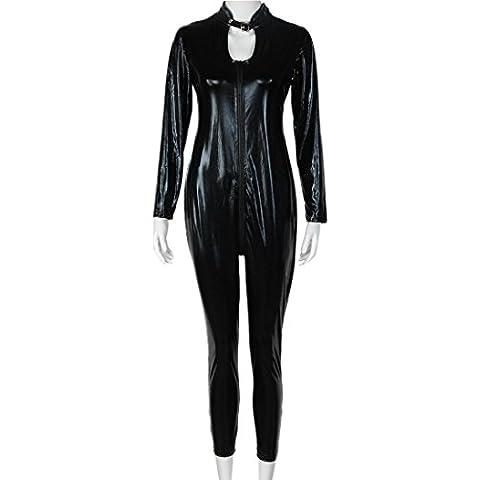 Baonoop Cuero negro adulto estupendo del PVC como la compresa apretada Bodysuits