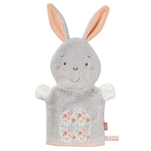 FEHN 062342 Waschhandschuh Hase / Waschlappen mit Tiermotiv für fröhlichen Badespaß, für Babys und Kinder ab 0+ Monaten