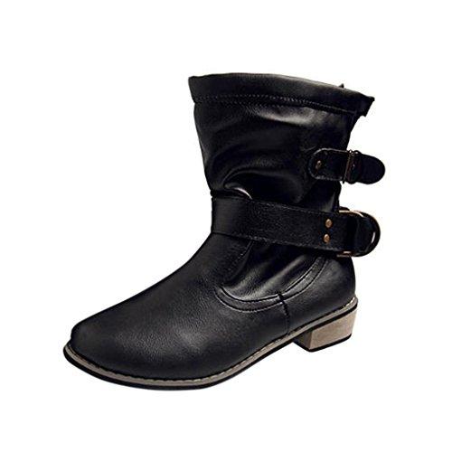 Koly Mujer Invierno Botines Botas Nieve Botas Calentar Casual Plano Zapatos invierno caliente Plano Botines Hebilla Calentar Botas De Nieve Zapatos Deportes al aire libre Boots (38, Negro)