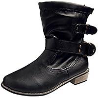 Koly Mujer Invierno Botines Botas Nieve Botas Calentar Casual Plano Zapatos invierno caliente Plano Botines Hebilla Calentar Botas De Nieve Zapatos Deportes al aire libre Boots