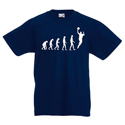 Kinder T-Shirt Evolution Basketball - Street Basket, ich Liebe Dieses Spiel, tolles Fan-Geschenk (3-4 Years Dunkelblau Weiß)