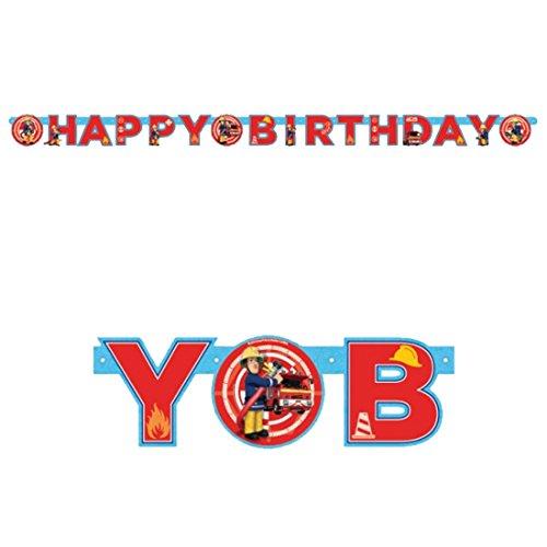 nn Sam Happy Birthday Girlande | 1,7 m x 11 cm | Geburtstagsbanner Junge | Spruchbanner Kindergeburtstag | Buchstaben-Girlande Firefighter ()