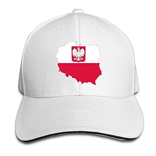 Vidmkeo Weinlese-erwachsenes Polen-Flaggen-Karten-Hysteresen-Hut-Schwarz-Sandwich emporgestiegenes Kappen-Weiß Multicolor37