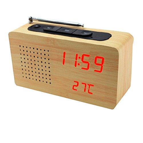 FISHTEC ® Radio Transistor Madera Clair - Pantalla LED - Despertador - Temperatura