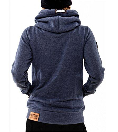 5-ALL Femmes Mode manches longues Pocket broderie cordon chandail à capuchon Bleu