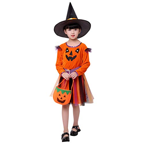 Lazzboy Kleinkind Kinder Baby Mädchen Halloween Kürbis Tüll Kleid + Mütze Taschen Outfits Kostüm Langarm Top Set Kleidung Infant Bogen Party Kleider(Orange,Höhe:140) (Kind Elvis Kleinkind Kostüm)