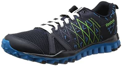Reebok Men's Realflex Advance 2.0 Navy, Blue, Green and White Mesh Multisport Training Shoes - 8 UK