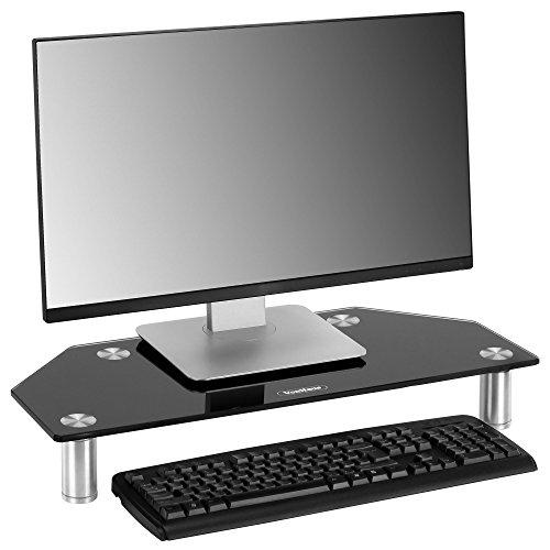 VonHaus Glas Ecke Bildschirm Mittelteil Ständer für Computer, Laptops und Fernseher - 60 x 26 cm -