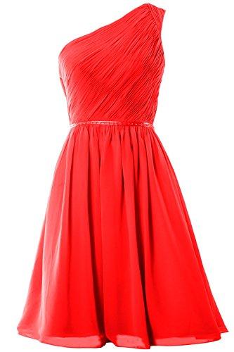 MACloth Women One Shoulder Chiffon Short Bridesmaid Dress Wedding Party Gown Rot
