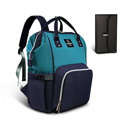 HEYI Mutifunktionale Wickeltasche Rucksack, Wasserdichte Wickelrucksack Tasche, Große Reisetasche für Mutter und Baby (See Blau - Marine)