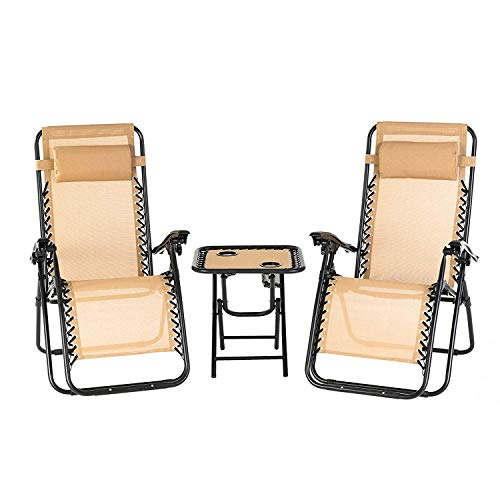 mecor Klapptisch und Stühle Schwerelosigkeitsstühle einstellbare Liegestühle 3 Stück Outdoor Yard Strand Garten Terrasse Möbel Sets Beige -