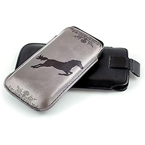 Jockey 10001, Fantino, Nero Universal Eco Leather Holster Sleeve Slide In Pouch with Colorful Design and Pull Tab Strap Compatible for Apple iPhone 4 4S