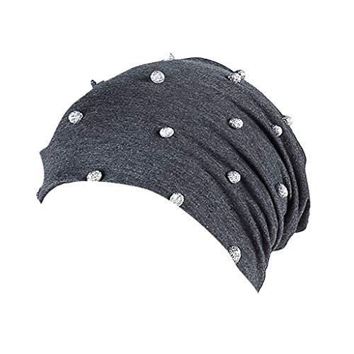 Women's Velvet Cap with Metal Ball Stylish and Breathable Turban Hat Knitt Hair Loss Head Scarf Wrap