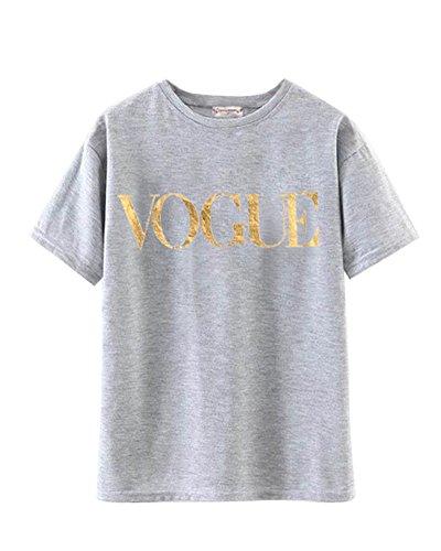 Minetom Damen Chic Kurzarm T-Shirt Modisch Vogue Brief Gedruckt Slogan Top Bluse Sommer Rundhals Gedruckt Hemd Mode Oberteile Grau+Gold DE 44
