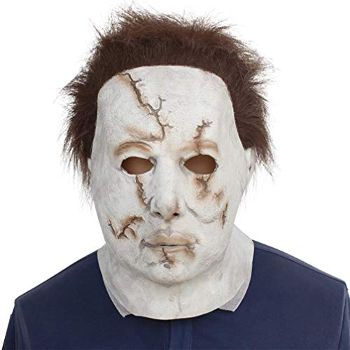 YuStar Michael Myers Maske Latex Horror Masken Halloween Make up Party Kostüm Full Head Deluxe mit Haar