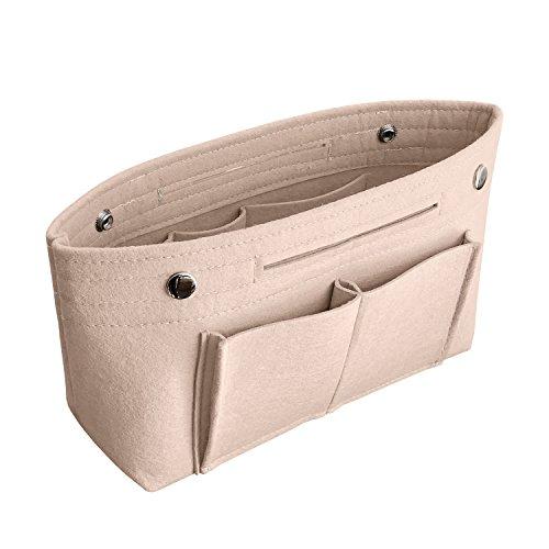 APSOONSELL Bag in Bag Handtaschen Organizer Filz, Taschen Organisator für Handtaschen, Innentaschen für Handtaschen - Beige - Groß (Damen Handtasche Beige)