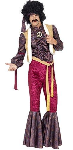 Herren 1970er Rock Star 70er Jimi Hendrix Celebrity Fancy Kleid Kostüm Outfit M-XL
