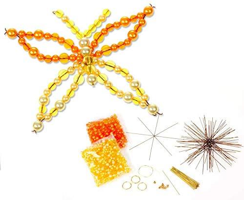 Betzold 56546 - Schmetterling Draht-Set, mit 12 Drahtsternen, 2 Verschiedene Größen, in orange / gelb - Bastelset Perlen Kinder basteln Kindergarten Weihnachtsdeko Weihnachtsschmuck