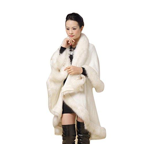 Bluestercool Frauen Faux Pelz Kragen Poncho Cape Stola Wrap Hoody Mantel Schal (One Size, Weiß)