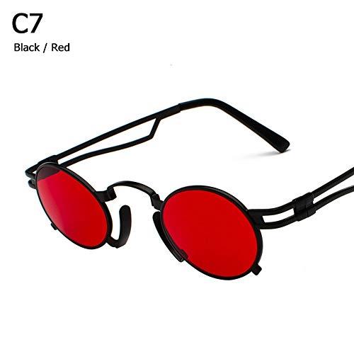 ZHOUYF Sonnenbrille Fahrerbrille Metall Oval Rahmen Steampunk Gothic Vampir Sonnenbrille Unisex Retro 1980Er Jahre Uv400 Sonnenbrille Cosplay Styling Oculos De Sol, G