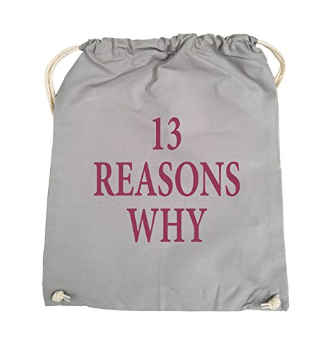 Comedy Bags - 13 REASONS WHY - TOTE MÄDCHEN - Turnbeutel - 37x46cm - Farbe: Schwarz / Silber Hellgrau / Fuchsia