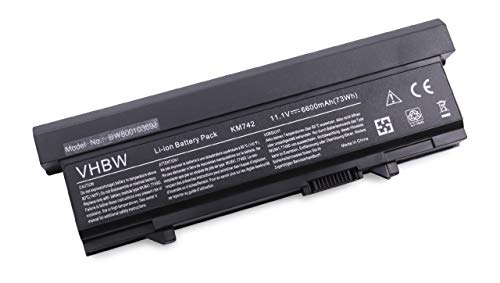 vhbw Batterie LI-ION 6600mAh 11.1V en noir pour DELL Latitude E5400, Latitude E5500, remplace KM668, KM742, KM752, KM760, KM970, MT186 etc.