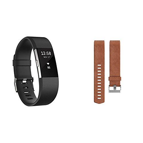 Fitbit Charge 2 Unisex schwarz, L + Wechselarmband Leder braun, L
