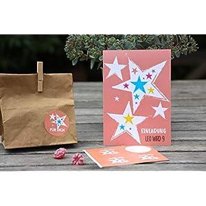 SET 8 STÜCK personalisierte Einladungen zum Kindergeburtstag mit 8 Aufkleber für Mitgebseltüten für Eure Gastgeschenke Sterne