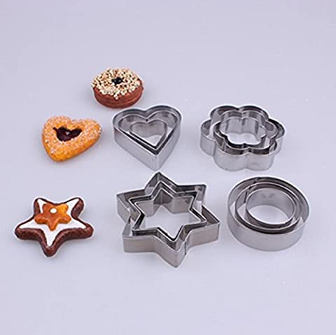 K&C 12ps inoxydable Star Heart Flower Cookie Cutter Fruit forme athlétique Biscuit Forme formes Biscuit Cookie Cutter Jelly Baking outil