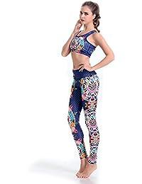 DASKING Femme Vêtements de Yoga Gym Sport Danse Leggings et Tops Sécheresse Rapide ( Pantalon Moulant + Soutiens-gorge de Sport )