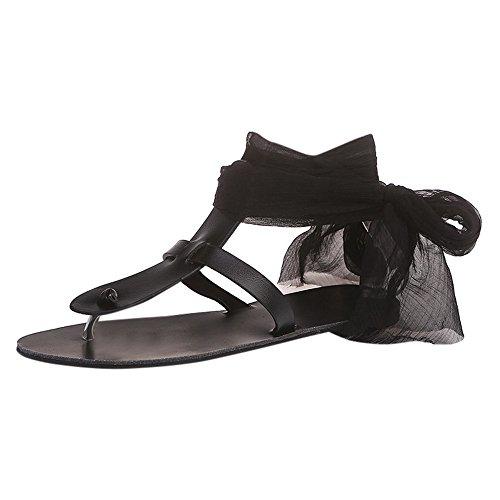 Espadrilles - Sandali da donna con plateau e lacci, modello Alaso, con clip, stile romano Nero 38
