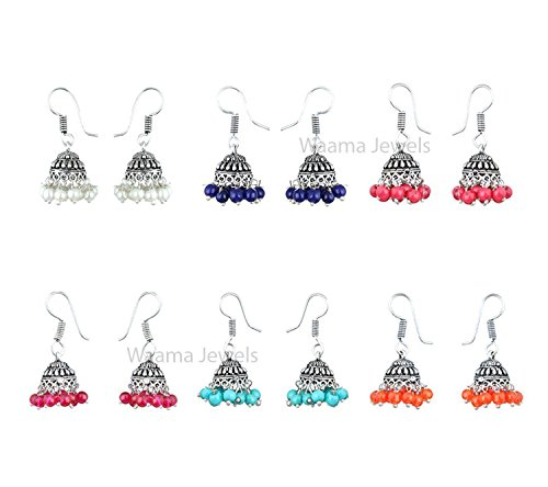 Waama Jewels Multicolor Gold-Plated Combo Of 6 Jhumki Earrings For Women