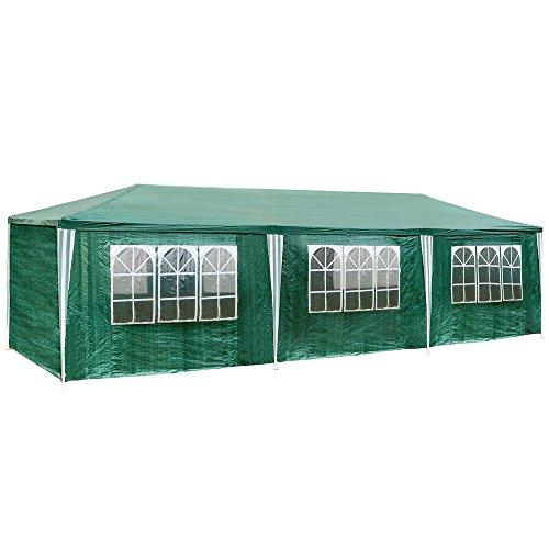 TecTake Tonnelle Tente Gazebo Pavillon de jardin d'événement bière pour fête de camping avec 8 parties latérales 9 x 3 m vert