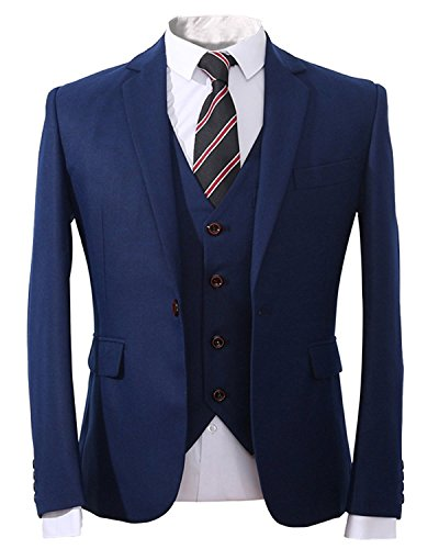 YOUTHUP Men's 3 Piece Blue Suits In Wool Blend Slim Fit