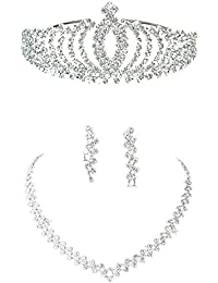 Gleader Un Juego De Joyas Tiara Diadema, Aretes, Collar, De Diamantes Artificiales Para Fiesta Boda
