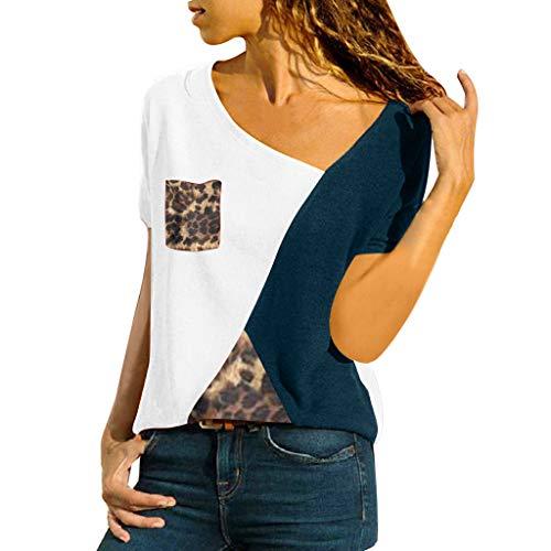 IFOUNDYOU Frauen Beiläufige Kurze Hülsen-Farbblock-Streifen-Knopf-T-Shirt übersteigt Bluse