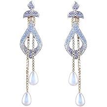 Sitashi White Ad American Diamond Pearl Dangle & Drop Earring For Women