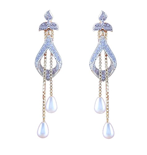 Sitashi White Ad American Diamond Pearl Dangle & Drop Earring For Women