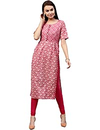 [Sponsored]Jaipur Kurti Women's Cotton Straight Fit Long Kurta With Embroidery (Pink)
